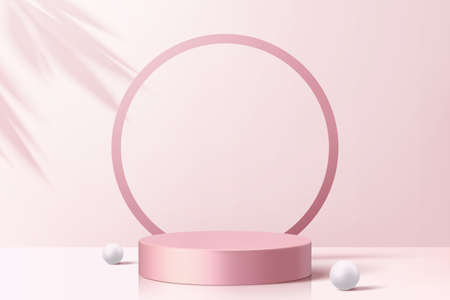 Product display podium decorated with pearls and leaf shadow on cherry blossom pink background, 3d illustration Ilustracja