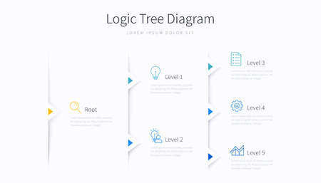 Logic tree diagram infographic template with design elements and icons