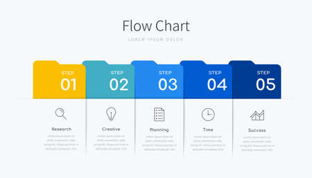 Infographic flow chart for business presentation with five colorful label options and icons Ilustracja