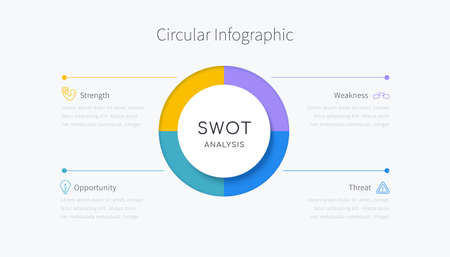 SWOT analysis infographic in four colorful element design, concept of company evaluation framework