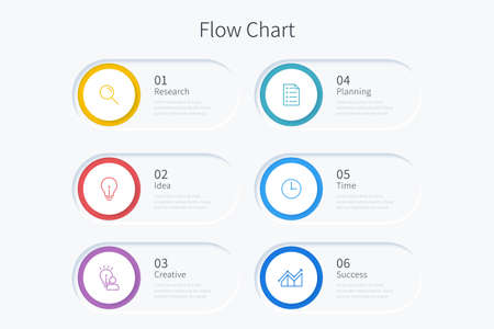 Flow chart infographic template with six circle elements and icons Ilustracja
