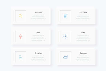 Minimal infographic template design with six linear icons and text boxes, suitable for business presentation or webpage Ilustracja