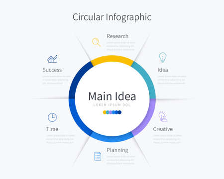 Circular infographic template for business presentation with six options Ilustracja