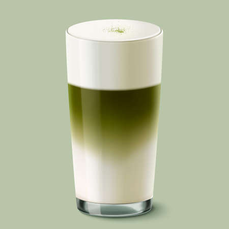 Japanese matcha latte glass cup mockup in 3d illustration, isolated on green background