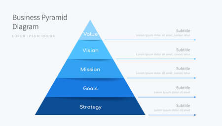 Abstract six-step pyramid infographic template, business diagram design in professional blue tone
