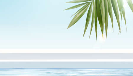 Tropical stage for product display in 3d illustration, white stair stage with sea, palm leaves and sunshine design elements Ilustracja