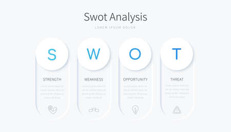 SWOT analysis infographic design with four round label elements, concept of company evaluation framework
