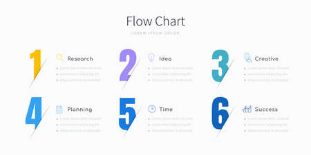 6 step infographic flow chart for business presentation designed with large colorful numbers