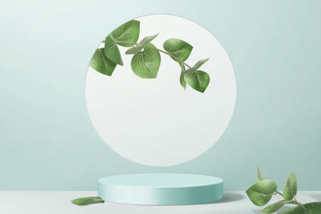Product display podium decorated with leaves on aqua blue background, 3d illustration