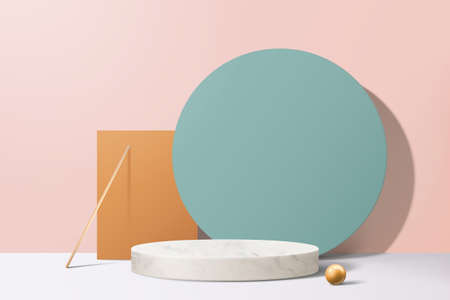 Modern geometric round and square paper background with marble podium in 3d illustration
