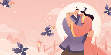 Asian couple holding each other on the bridge with smile, flat design illustration, banner for dating events or Qixi festival aka. Chinese Valentine's Day