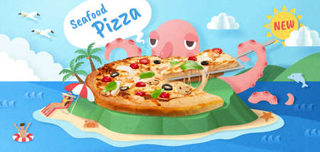 Seafood pizza ad with cute octopus enjoying the tasty pizza, 3d illustration with paper cut background