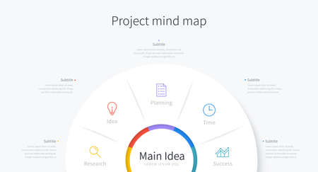 Minimal infographic template of project mind map, with element and icon design