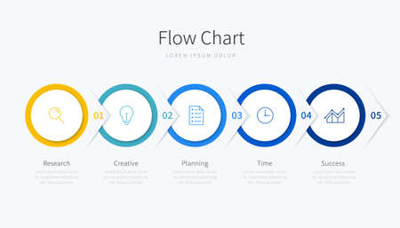 Flow chart infographic template design with icons and 5 sections or steps, suitable for presentation and website Ilustracja