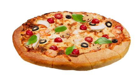 Closeup of delicious seafood pizza in 3d illustration, isolated on white background