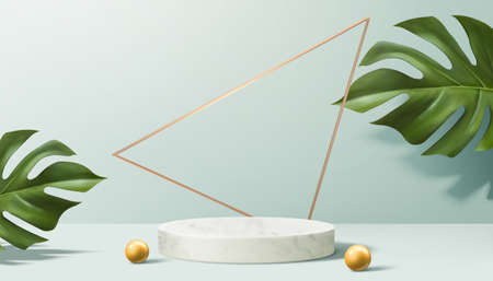 Product display podium decorated with pearls and leaves on aqua blue, 3d illustration Ilustracja