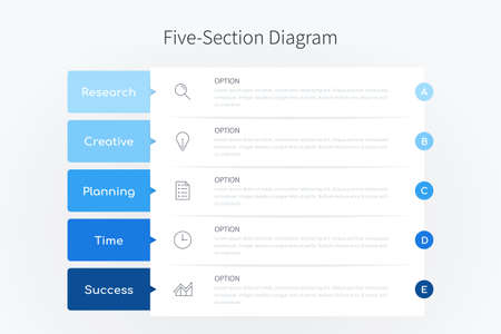 Five section infographic diagram, vertical process chart template with five heading banners in blue tone design Ilustracja