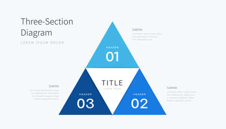 Three section diagram infographics elements, blue triangle design template with three options