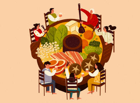 Top view of Asian family sitting around a large hot pot, isolated on beige background
