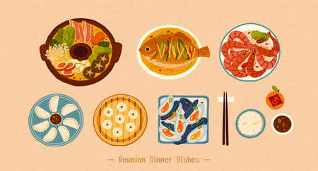 Top view of delicious Chinese traditional dishes isolated on beige background, Translation: Auspicious