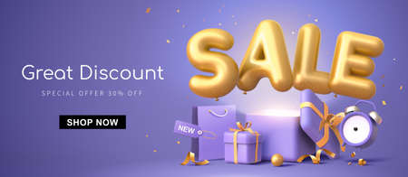 Great discount banner design with 3d rendering golden SALE balloon phrase on purple background with gift box, shopping bag and alarm clock elements Ilustracja