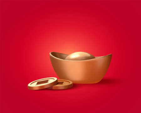 3d illustration gold ingot and coins isolated on red background, design elements for Chinese lunar year