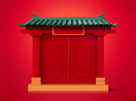 3d illustration of Chinese door entrance isolated on red background, traditional gate with green roof Ilustracja