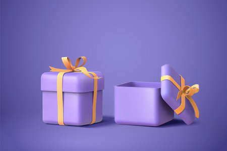 3d illustration of two purple gift boxes with bows and ribbons, isolated on purple background Ilustracja