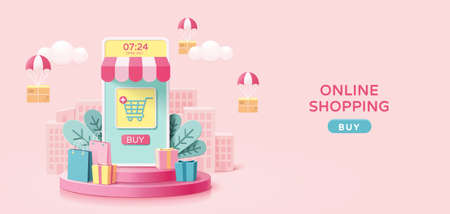 Online shopping concept in minimal 3D illustration, with mobile phone store set on round podium