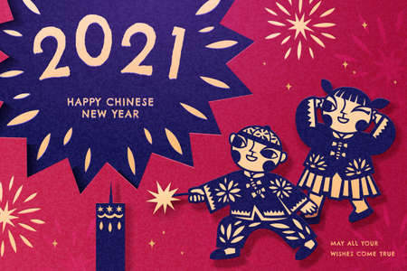Cute Asian children with traditional costumes playing firecrackers, 2021 Chinese New Year greeting card in red blue paper cut design Ilustracja