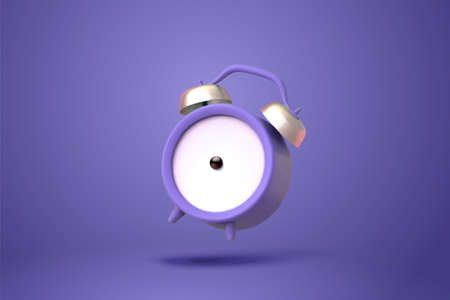 3d illustration of purple twin bell alarm clock in mid air isolated on purple background Ilustracja