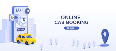 Online car booking app ad design template, 3D minimal illustration of online car hire mobile app on light blue background