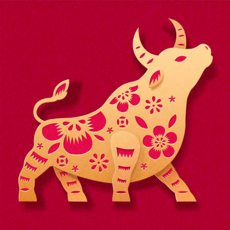 Beautiful symbol of bull with floral patterns, designed in golden paper cut style, isolated on red background, concept of Chinese zodiac ox Ilustracja