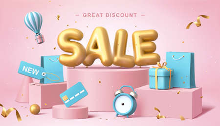 Sale poster in 3d pastel illustration, with cute balloon word on podium with some shopping related elements Ilustracja