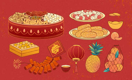 Element set of Chinese new year food isolated on red background in hand drawn design, including mix dried nuts, fruit, and firecrackers, Text: Spring