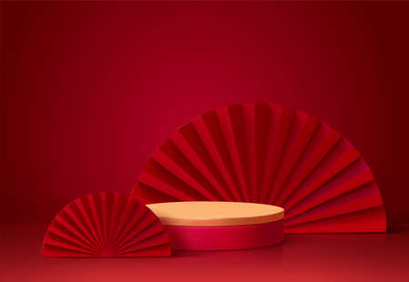 3d background template with the stage podium and red fans as the decoration, suitable for Asian products Vector Illustration