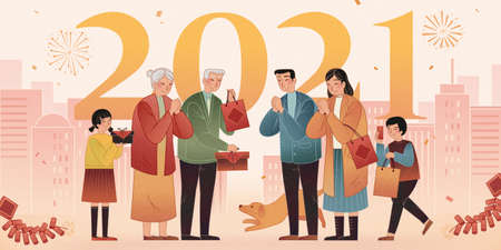2021 Celebration banner. Asian family making greeting gestures on city silhouette background. 矢量图像