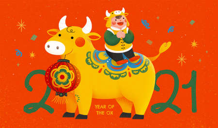 2021 new year celebration poster with cute boy sitting on bull and making greeting gesture, concept of Chinese zodiac sign ox 矢量图像