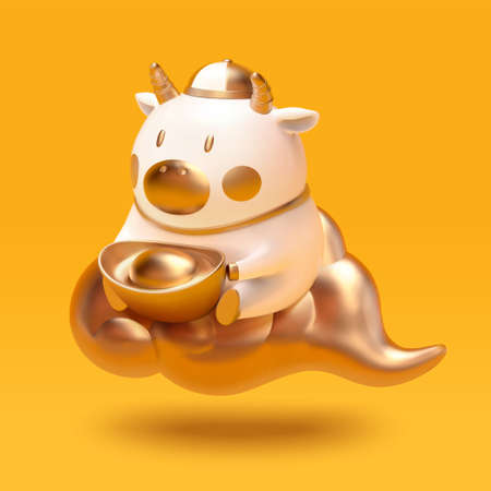3d illustration of cute ceramic white cattle sitting on gold cloud. 2021 CNY ox character isolated on yellow background.