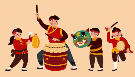 Isolated people characters for Chinese new year activity or parade. Cute Asian children playing traditional Chinese drum and instrument.