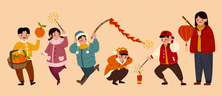 Isolated people characters for Chinese new year activity. Cute Asian children lighting firecrackers or holding lantern and orange basket.