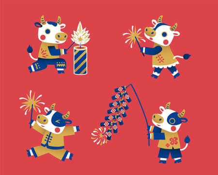Cute ox with Chinese clothing lighting firecrackers. Animal characters isolated on red background. Suitable for Chinese new year. Stock Illustratie