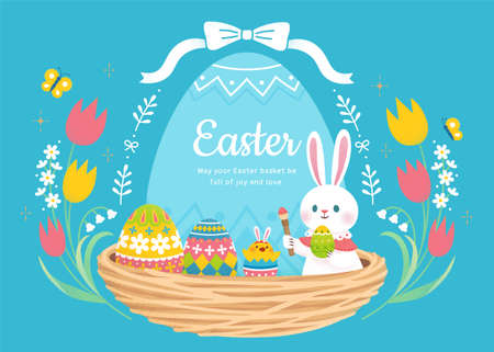 Happy Easter background. Cute rabbit, colorful eggs and chick set in nest with floral tulip frame. Stock Illustratie
