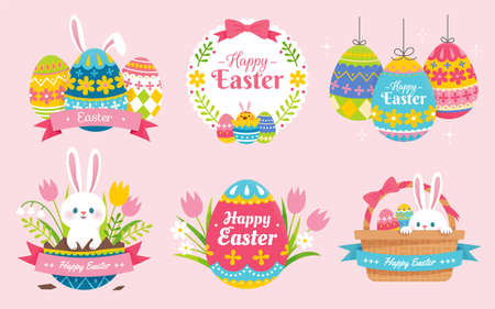 Collection of cute Easter illustration, designed with Easter rabbits, painted eggs and basket. Suitable for label and sticker design.
