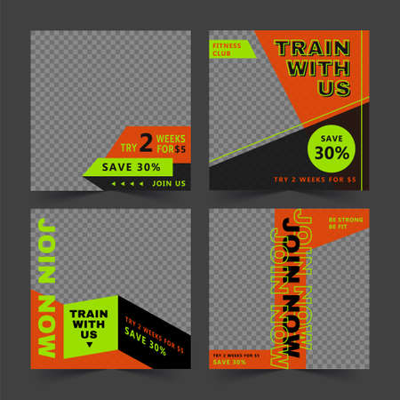 Editable fitness club social media posts banner template, set of editable square illustrations, suitable for gym social media post and web ad Stock Illustratie