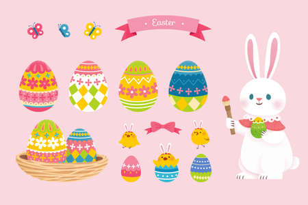 Collection of cute Easter elements, including rabbit, nest, eggs with floral patterns. Suitable for Easter event decoration.