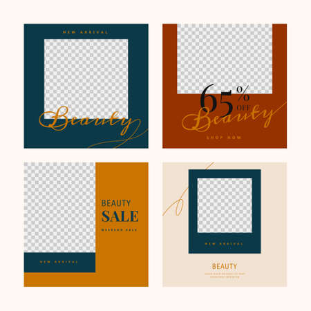 Beauty products sale template banner set illustrations, promo square web banner for social media mobile apps, editable template with abstract shape. Digital banner and poster. Stock Illustratie