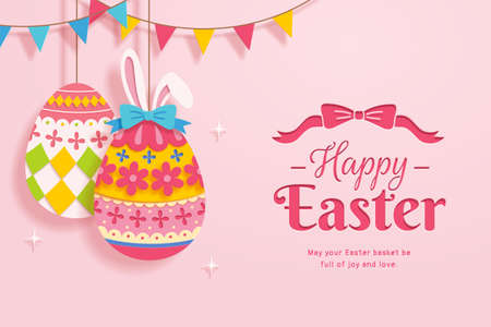 Happy Easter greeting card in paper cut design. Easter eggs decorated with floral patterns and bunny ears. Stock Illustratie
