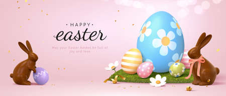 3d Easter banner with chocolate rabbits and beautiful painted eggs set on grass. Concept of Easter egg hunt or egg decorating art.