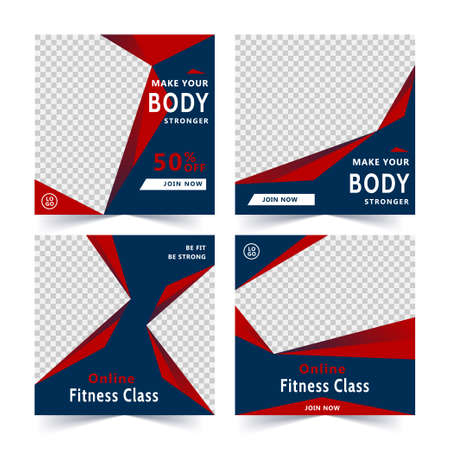 Fitness class square banner template, promotional banner for social media post, web banner and flyer illustration